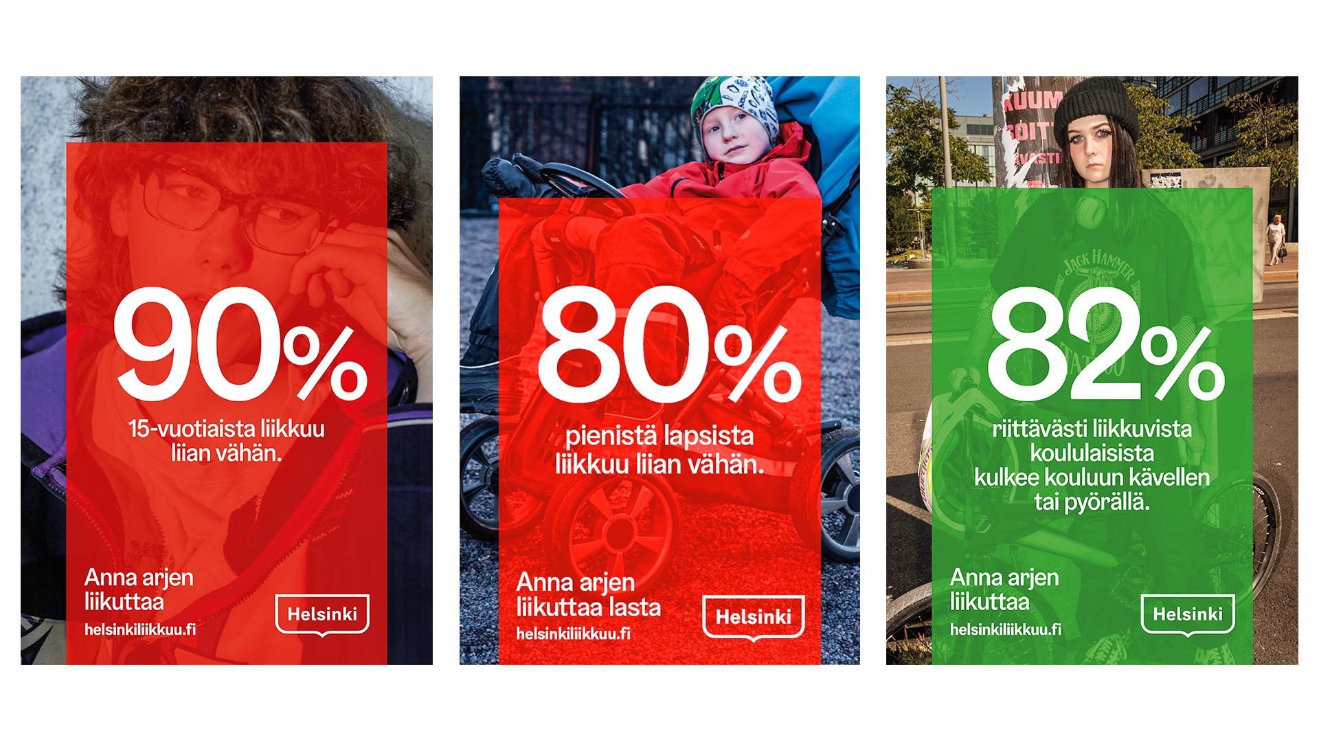 Kolme infograafia: 90 % 15-vuotiaista liikkuu liian vähän, 80 % pienistä lapsista liikkuu liian vähän ja 82 % riittävästi liikkuvista koululaisista kulkee kouluun kävellen tai pyörällä.