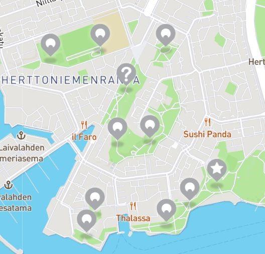 Karttakuva Herttoniemenrannan HelsinkiSeikkailu -oppimispelin rasteista