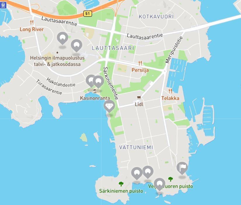 Karttakuva HelsinkiSeikkailun Lauttasaaren rasteista