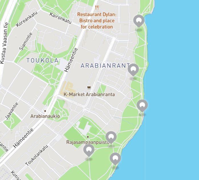 Karttakuva HelsinkiSeikkailun Arabianrannan rasteista