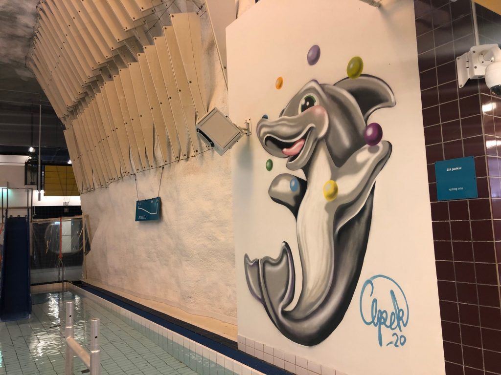 Delfinimaalaus Itäkeskuksen uimahallin seinällä.